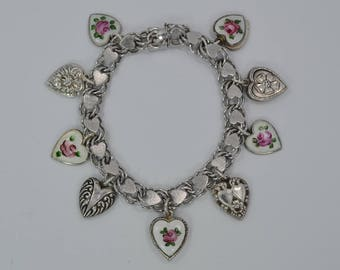 "Vintage Sterling Silver Enamel Rose & Puffy Heart Charm Bracelet 7 1/4"" Lg"