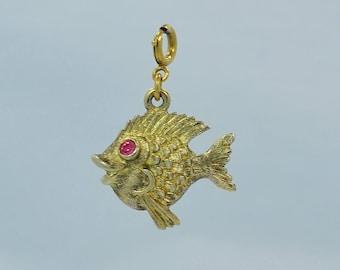 3d30ec4feb4b Vintage 1960 s Monet Goldtone Fish Charm With Pink Rhinestone Eyes