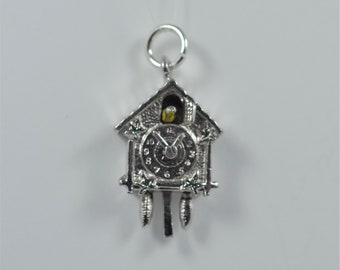 Movable Cuckoo Coo Coo Clock 3D Silver Vintage Charm