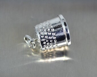Vintage Sterling Silver Thimble Charm - Heavy 4.18 grams