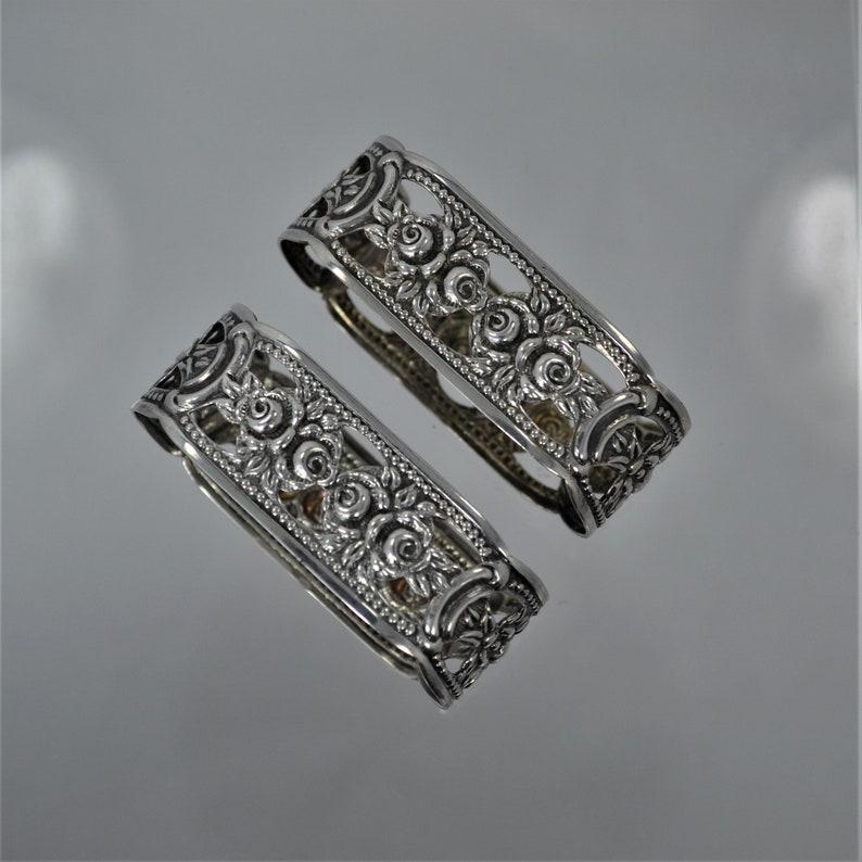 1950/'s Set of TWO Vintage 835 Silver German Hildesheim Rose Oval Napkin Rings