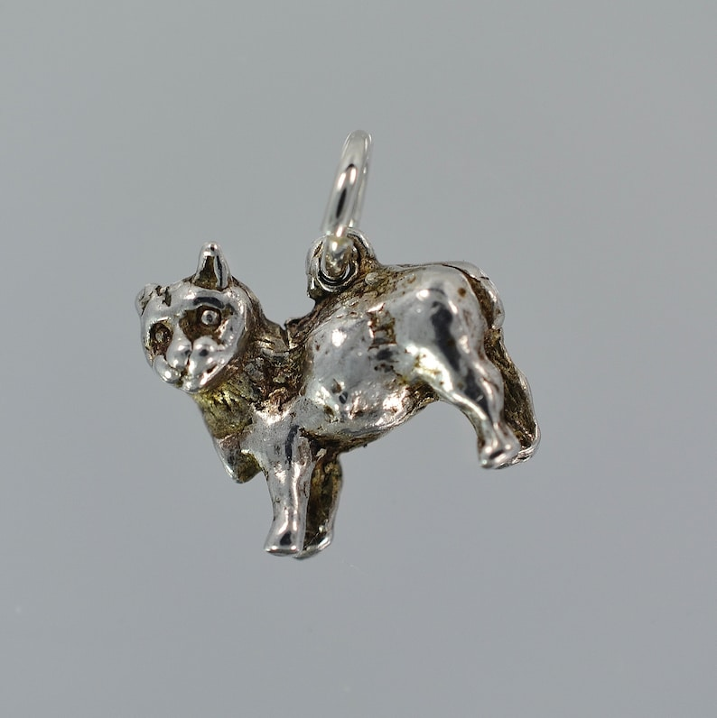 Vintage Sterling Silver Manx Cat or Tailless Kitty Charm 2 78 Grams