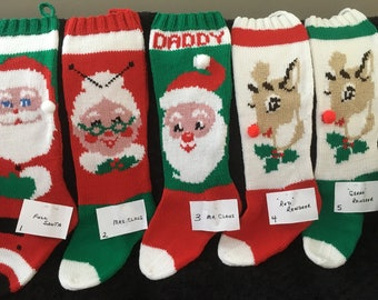 6d920a71c WITH NAME Personalized Hand Knit Christmas Stocking