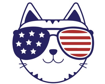 80a9b5cc4adf America SVG Fourth Of July Svg American Flag Sunglasses Cat Svg American  Cat Svg American Glasses Svg Cut File Eps Dxf Instant Download