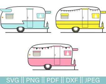 Retro Rv Cut Files SVG Camper Pack Cutting File Trailer Glamping PNG Clip Art Dxf