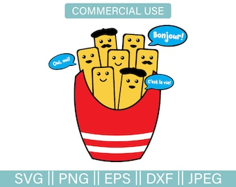 French Fries SVG, Svg Cut File, French Fry SVG, Funny French Fry Cut File, Kawaii French Fries Clip, French Fry Vector, PNG, Pdf, Dxf,