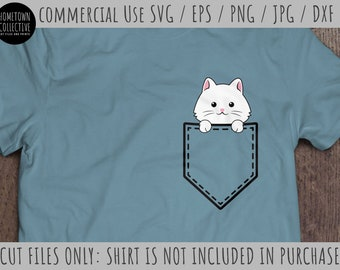 Kitten Svg, Pocket Svg, Pocket Kitten Svg, Peeka Boo Pocket Svg, Cute Svg, Cat Svg, Dxf, Eps, Commercial Use Svg, Cut Files, Png, Clip Art