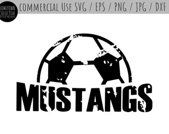 Soccer Svg, Team Logo Svg, Mustangs Soccer, Soccer Ball Svg, Sports Svg, Team Name, Dxf, Eps, Commercial Use Svg, Svg Cut Files, Png
