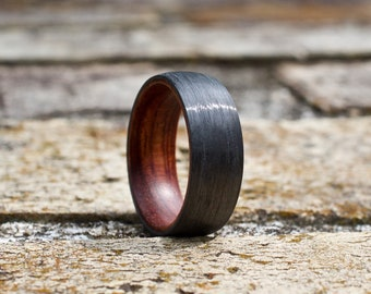 FREE Shipping, Carbon Fiber Ring, Wood Wedding Band, Wooden Ring, Wood Ring, Wood Wedding Ring, Mens Wooden Ring, Mens Ring, Wedding Band