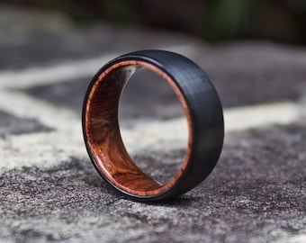FREE Shipping, Wood Wedding Band, Wooden Ring, Wood Ring, Wood Wedding Ring, Mens Wooden Ring, Mens Ring, Black Wedding Band, Wood Band