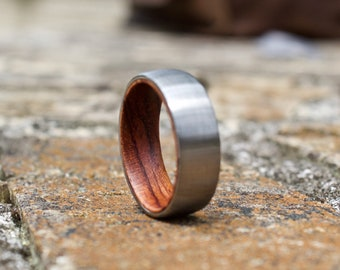 FREE Shipping, Wood Ring, Mens Wood Ring, Wood Wedding Band, Rose Wood Ring, Mens Wedding Band, Wooden Ring, Mens Wooden Ring, Wedding Band
