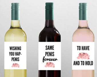 FUNNY BACHELORETTE WINE Label set- Bachelorette party gift, Bachelorette party favors, bachelorette party games, wedding decor, wedding gift