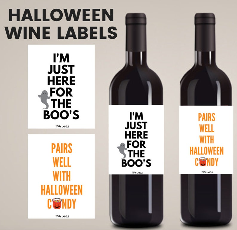 HALLOWEEN WINE LABELS: Halloween Decorations, Halloween Party Decorations,  Halloween Party Decor, Halloween Party Decor, Funny Wine Labels