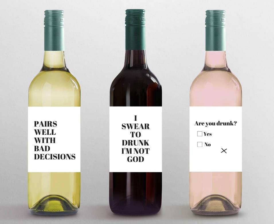 Lustige Weinetiketten: Custom Wein Etiketten Gastgeberin | Etsy