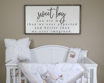 Sweet Boy, Sign, Wood Signs, Nursery Decor, Nursery Art, Nursery Wall Art,  Baby Shower Gift, Boys Nursery, Farmhouse Sign, Kids Room Decor