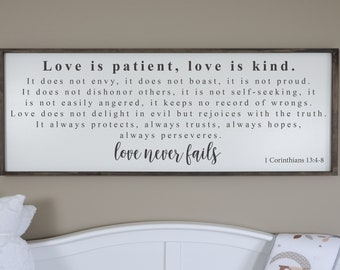 Love Is Patient Love Is Kind Sign, Love Never Fails Sign, Framed Wood  Signs, 1 Corinthians 13, Farmhouse Scripture Sign, Bedroom Wall Decor
