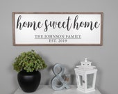 Home Sweet Home Sign, Home Sign, Family Name Sign, Family Established Sign, Signs For Home, Farmhouse Framed Wood Sign, Living Room Sign