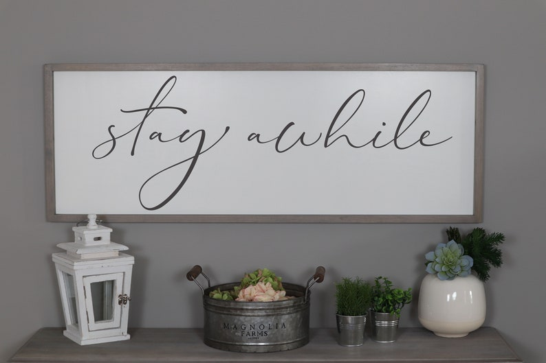 Stay Awhile Sign Framed Wood Signs Living Room Wall Decor Etsy