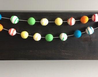 Rainbow Swirl Felt Ball Garland