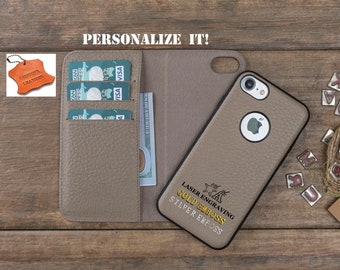 f39902a9224b Leather iPhone 7 - 8 Case, Mink - Beige Detachable iPhone 7, 7 Plus, 8, 8  Plus Wallet Case, Personalized iPhone Wallet, iPhone Card Holder