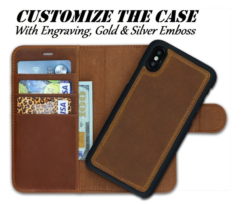 check out 9809b 702da Detachable iPhone Wallet for iPhone X, Xs, 8, 7, Plus Cases, Personalized  iPhone Wallet, iPhone Card Holder, Antique Fine Brown