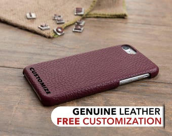 iPhone 8 Case Leather, iPhone 7 Case, Burgundy Personalized Leather iPhone 8 Plus Case, Custom iPhone 7 Plus Case, Engraved iPhone Sleeve