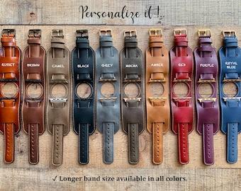Custom Leather Watch Band, Cuff Band Strap, Apple Watch Band, Wrist Watch, Bracelet Watch, 38mm 40mm 42mm 44mm Samsung Galaxy, Fossil, Gear