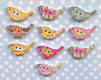 50 x Wooden 23mm Bird Buttons Crafts Embellishments Card Toppers