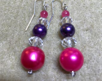 Earrings - Pink and Purple glass pearls