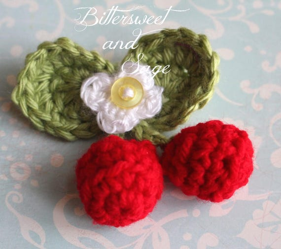Crocheted Cherry Pin Brooch Spring Gift Whimsical Coat
