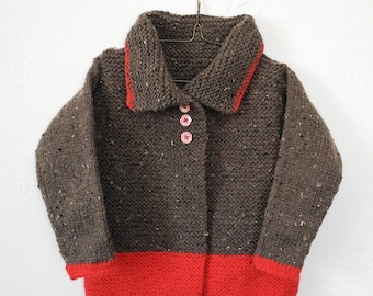 Children's Hand Knit Sweater - Kids Knitwear - Unisex Toddler Cardigan