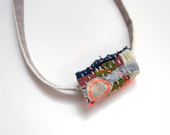 Hand Quilted Necklace No. 7 - Embroidered Textile Collage Bead