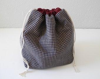 Reversible Cotton Bag - Drawstring Pouch - Dopp Kit - Plant Holder - Jewelry Bag - Organizer Bag