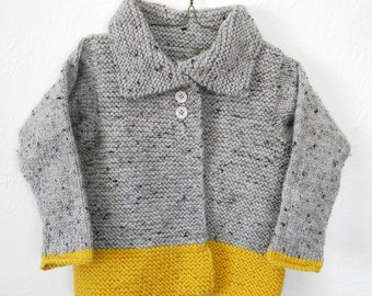 MADE TO ORDER - Wool Children's Hand Knit Sweater - Kids Knitwear - Unisex Toddler Cardigan