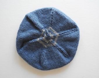 Handknit Wool Children's Beret - Cornflower Blue with Grey Stripes - Handmade