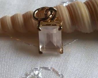Rose quartz Vermeil pendant