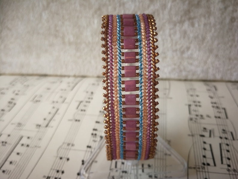 Herringbone bracelet copper rose blue