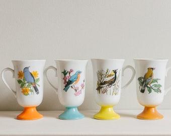 Vibrant Vintage Bird Mugs (set of 4)