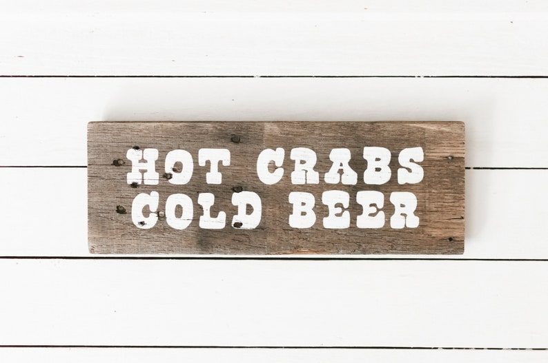 Hot Crabs and Cold Beer Reclaimed Wood Sign Wall Art