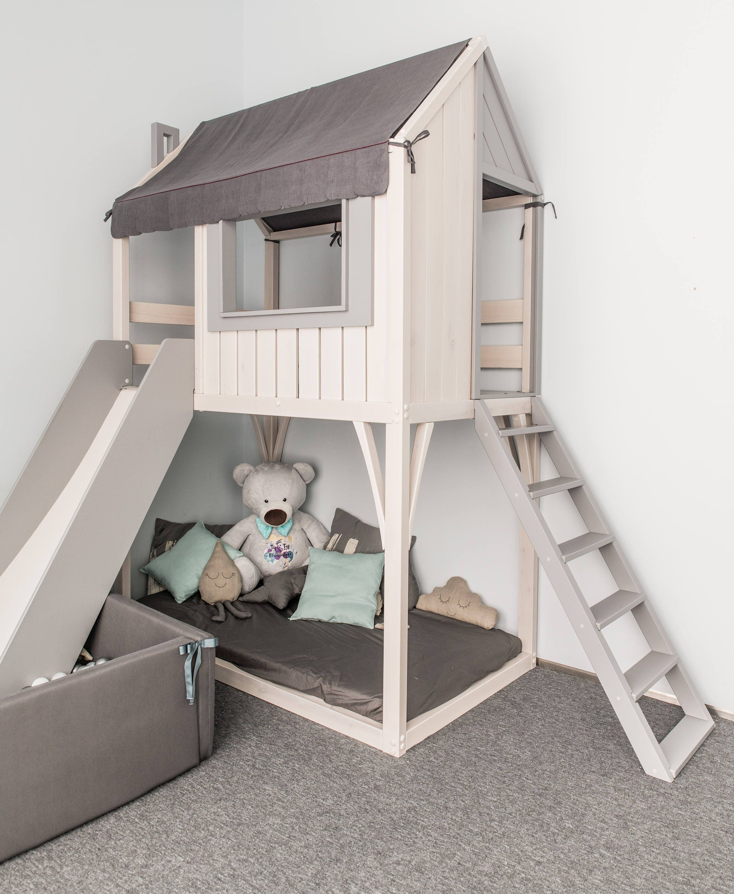 loft bed playhouse children bed bunk bed for kids kids etsy. Black Bedroom Furniture Sets. Home Design Ideas