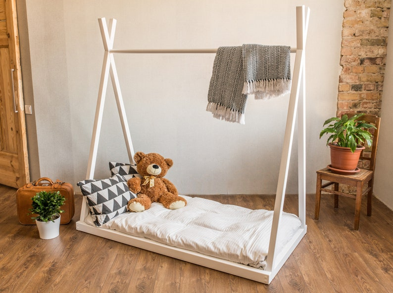Tepee Montessori Bed Children Bed Children Furniture Wooden Bed Handmade Full Bed Single Bed Nursery Furniture Bed Frame