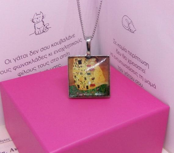 earrings art Gustav The kiss Necklace Klimt necklace Klimt the kiss necklace painting