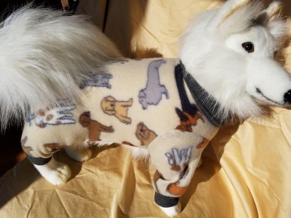 Polaire chien pyjama chien Beige imprimé