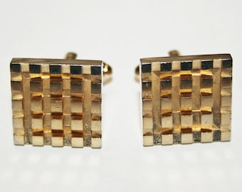 Gold Tone Square Cufflinks with Checker Board Pattern Vintage 1970s Cufflinks