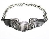 WWII Sterling Pilot Wings Badge Sweetheart Bracelet