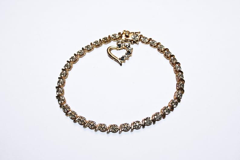Vermeil Sterling Silver Tennis Bracelet with Heart Charm