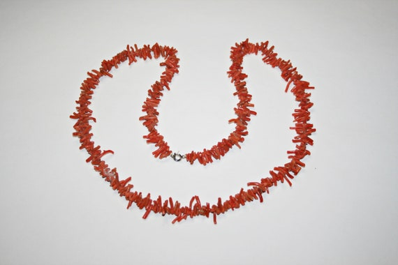 Antique Edwardian Long Branch Coral Necklace