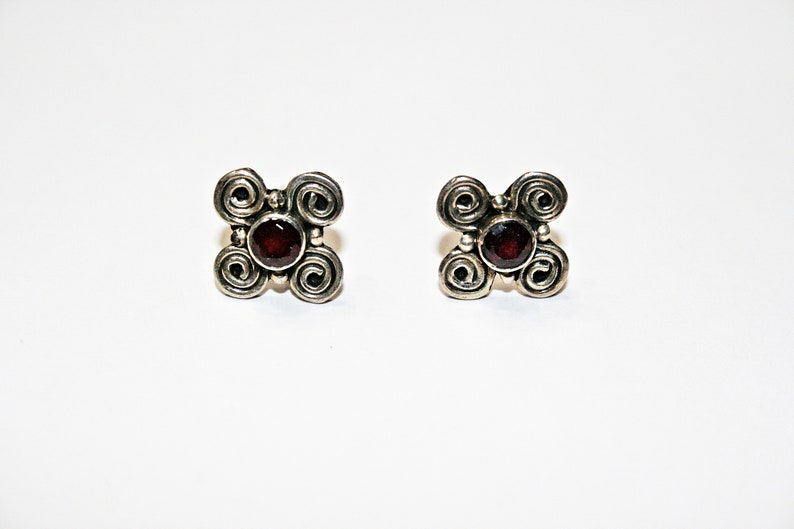 Vintage Garnet and Sterling Silver Stud Earrings