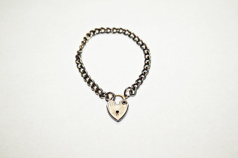 5 Antique Victorian Silver Tone Heart Padlock Child/'s Bracelet