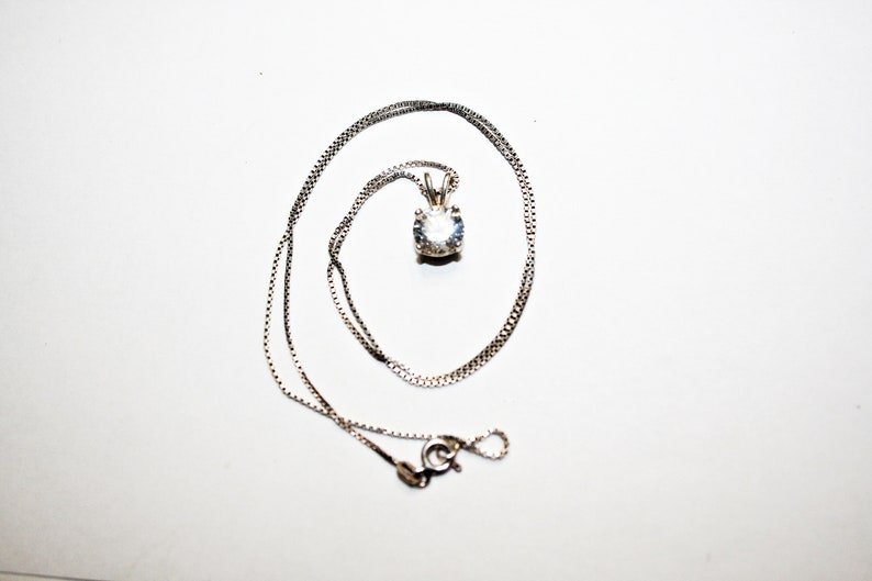 Vintage Sterling Silver and Cubic Zirconia Pendant Necklace